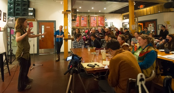 "Elizabeth Simone tells her ""When It Rains, It Pours"" story at Actual Cafe at the December 2012 Spokespeople!"